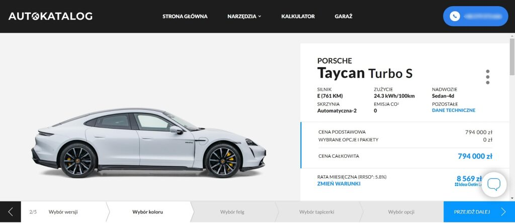 Konfiguratot Porsche Tycan